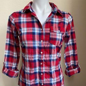 bright red plaid cotton shirt